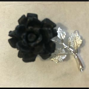 🖤 black rose 🌹 valentines antique sliver leaf